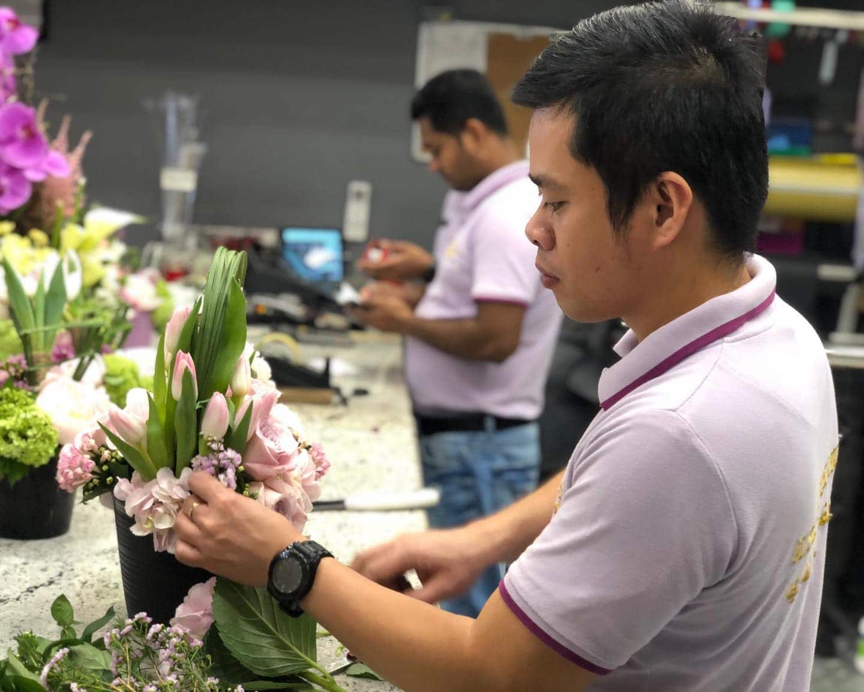 Plaza Hollandi Florist in Villaggio making a flower arrangement