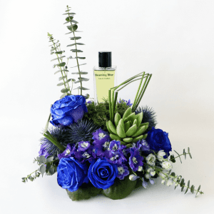 Beaming blue perfume and delphinium