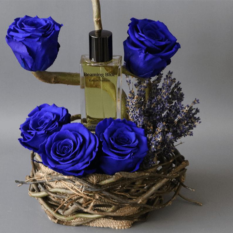 beaming blue perfume close up