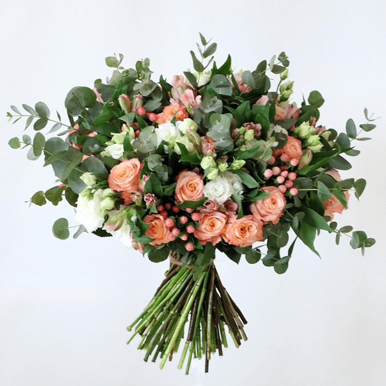Orange roses, white eustoma, alstroemeria and eucalyptus