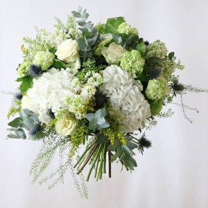white hydrangea, white green roses, syringa and euclyptus