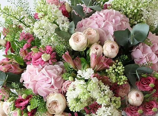 pink hydrangea, spray rose, bouvadia, lilac, flowers