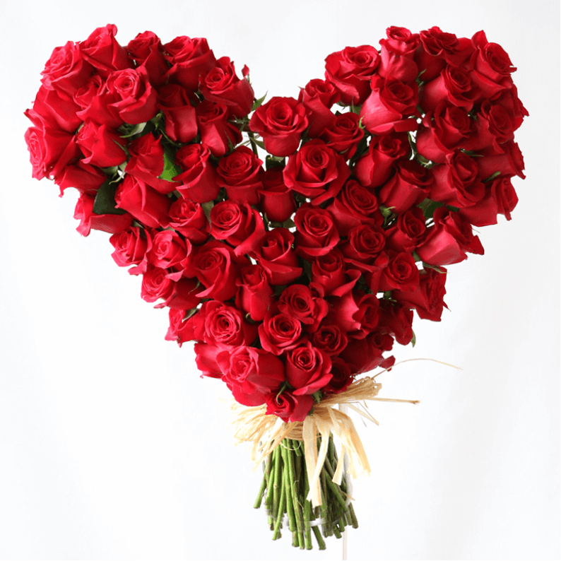 large heart bouquet made out of red roses