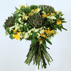succulents, yellow yellow spray roses, statice and mint in a bouquet