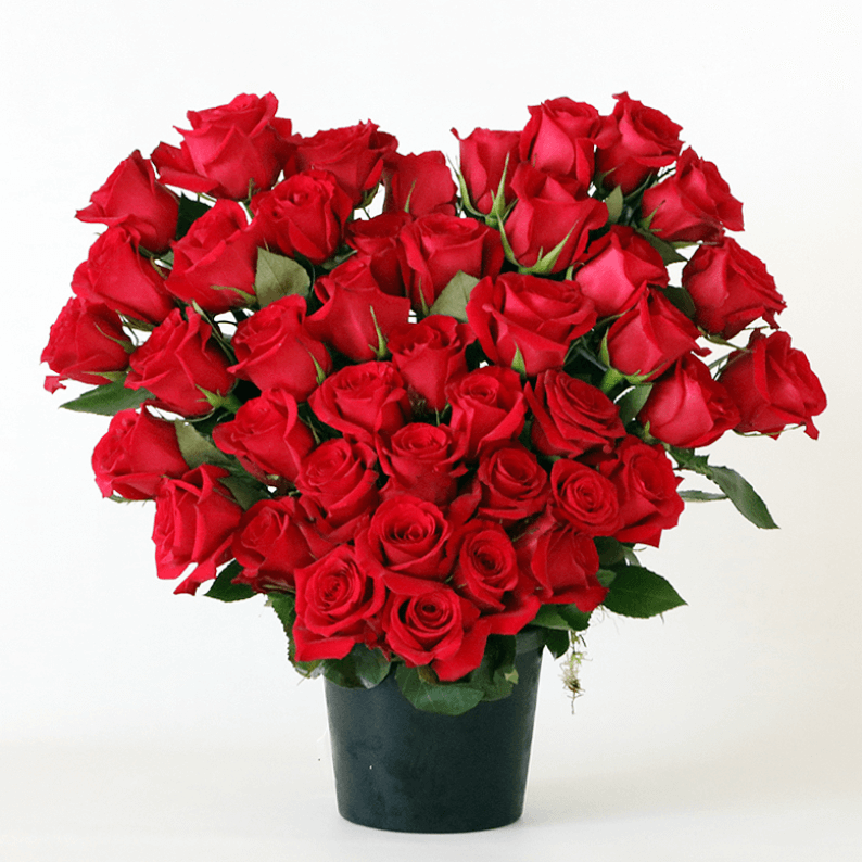 large red roses arranged in a heart shape in a black ceramic pot
