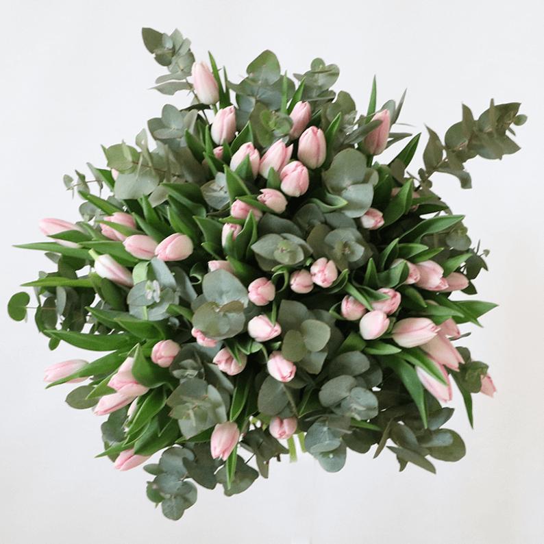 pink tulip bouquet with eucalyptus
