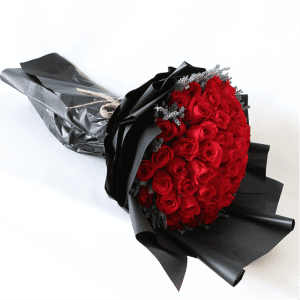 Red Rose Bouquet with Lavender and black paper