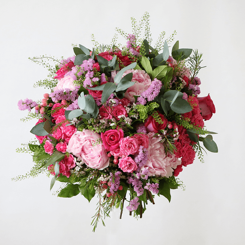 Pink, peony and spray rose bouquet