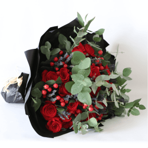 red roses, lavender, hypericum and eucalyptus bouquet