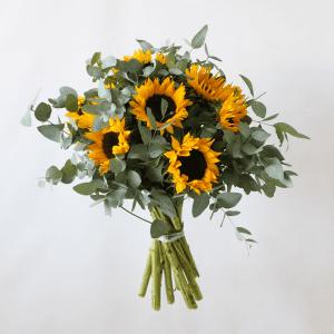 Sunflowers, eucalyptus bouquet