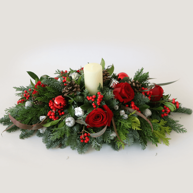 red roses and white flower festive table arrangement