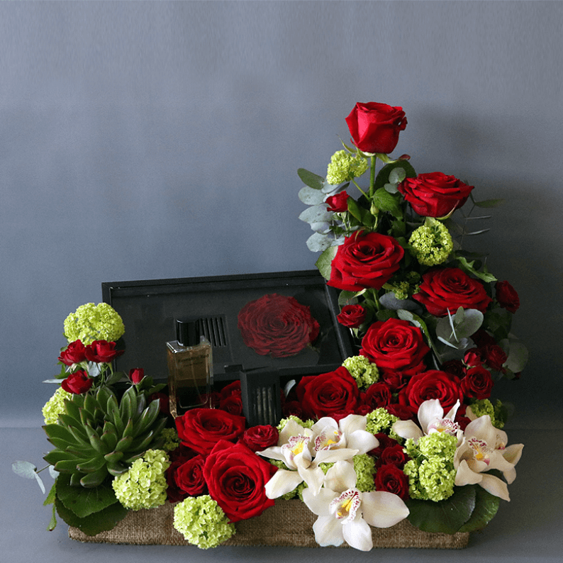 box of revealing red perfume with red roses, cymbidium orchids and succulents