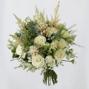 Light pink astilbe, white roses, white peonies, wax flower with green leaves