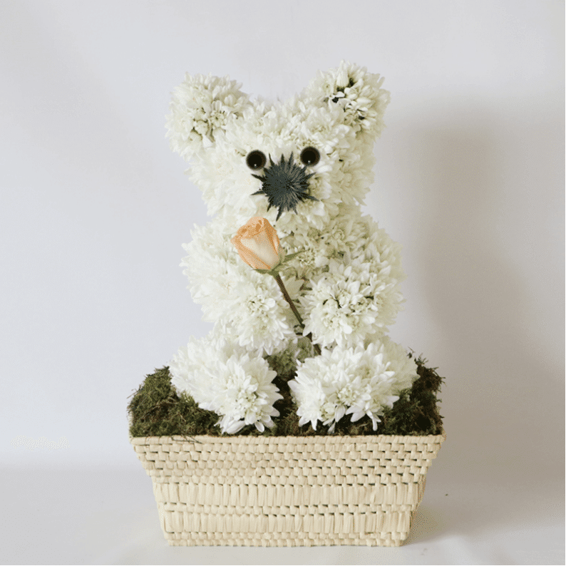 teddy bear made from flowers