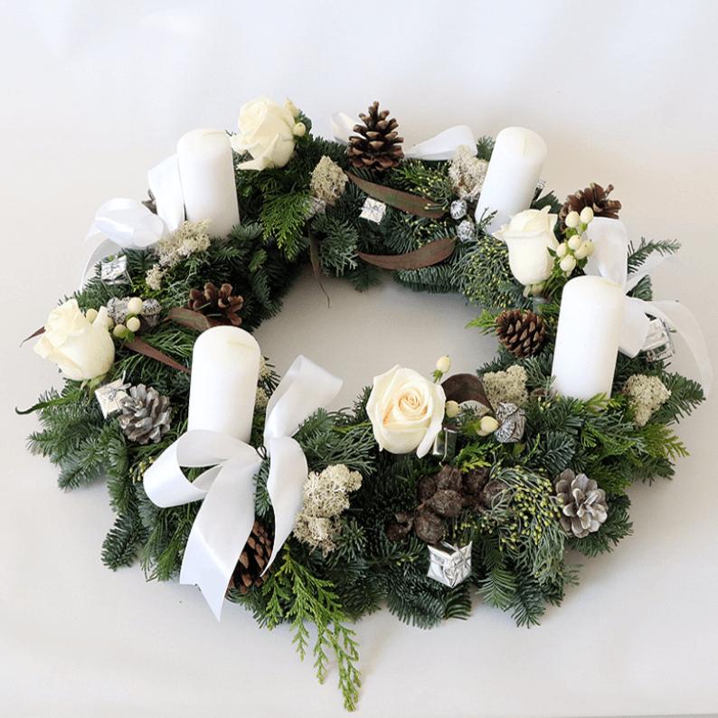 round white wreath arrangement