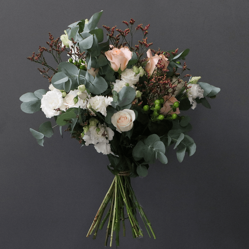 peach, white and pink eucalyptus bouquet