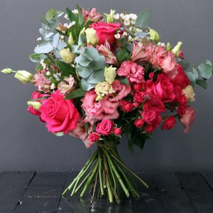 pink roses, pink spray roses, eustoma and eucalyptus