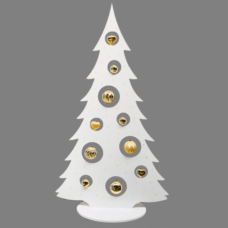 white wooden christmas tree with LED lights