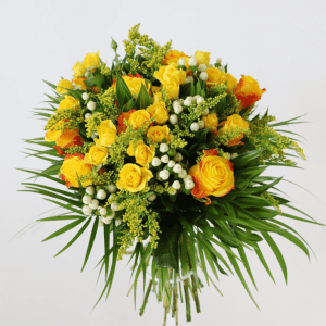 orange and yellow rose bouquet with wax flower