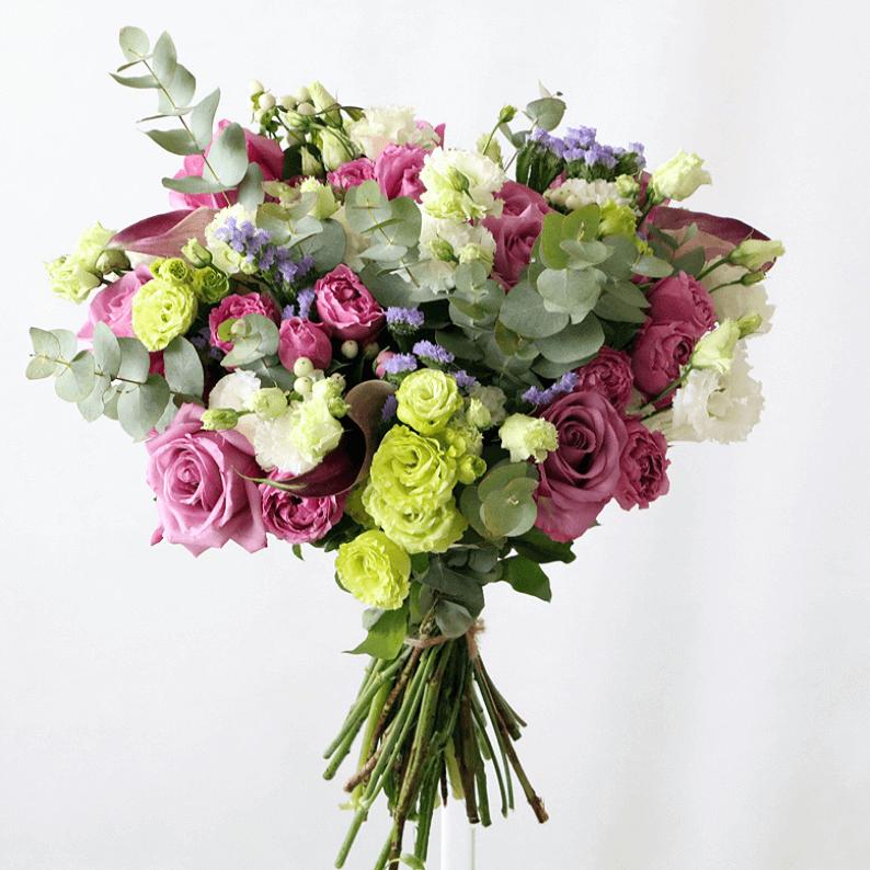 pink, purple, green flower bouqouet