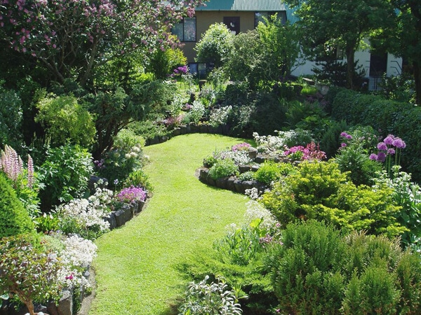 English Garden with full boarder flowers
