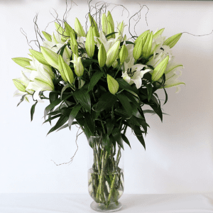 white lily flowers beautifully arranged in a glass vase