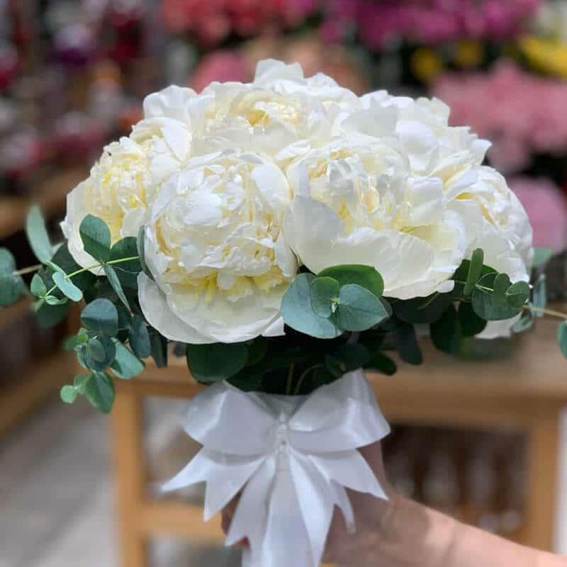 white peony bridal bouquet with eucalyptus