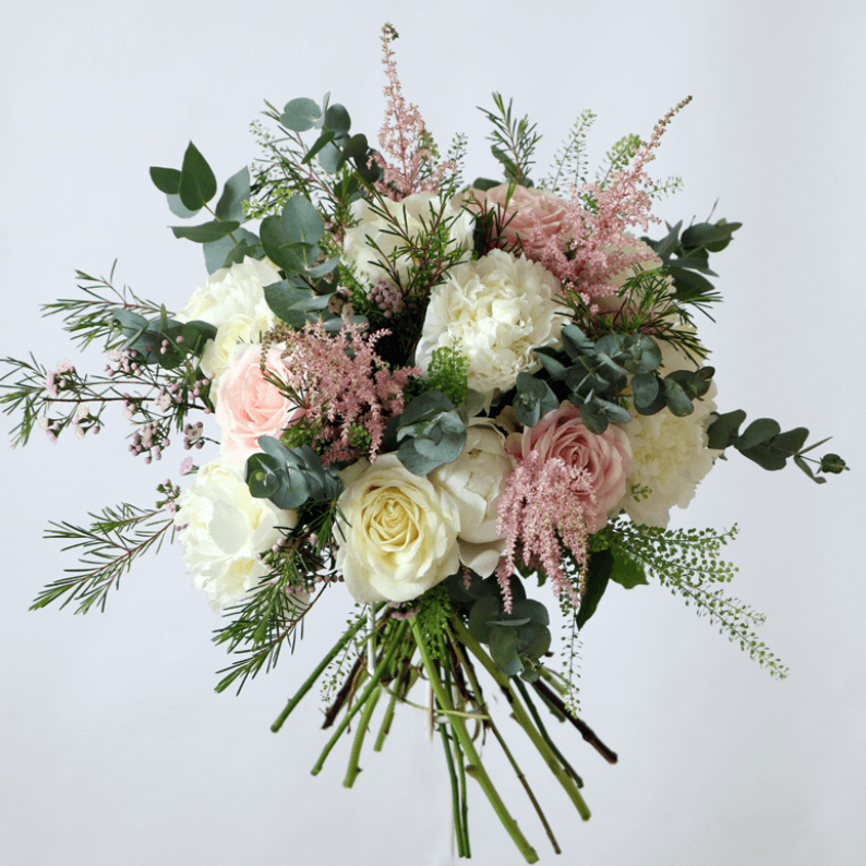 white and pink peony bouquets with astillbe