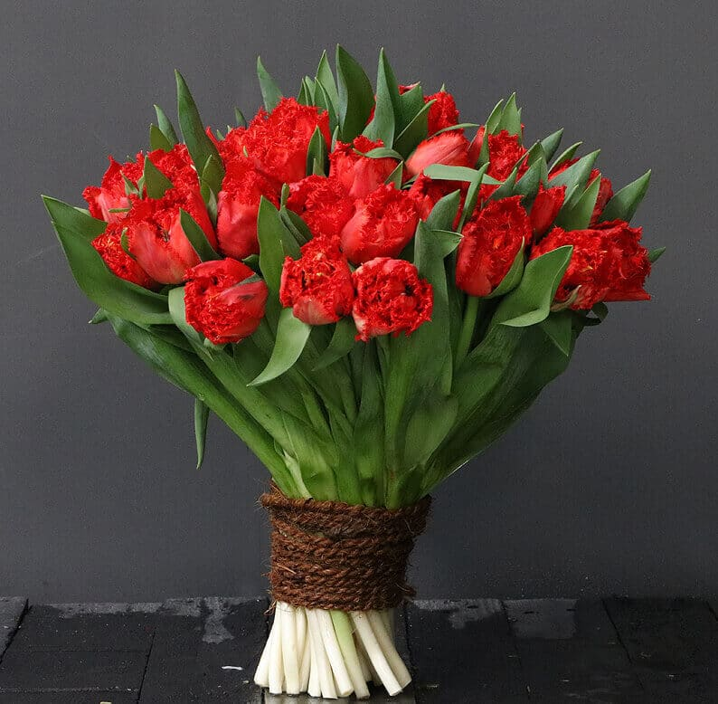 red parrot tulips in a bouquet wrapped in rope