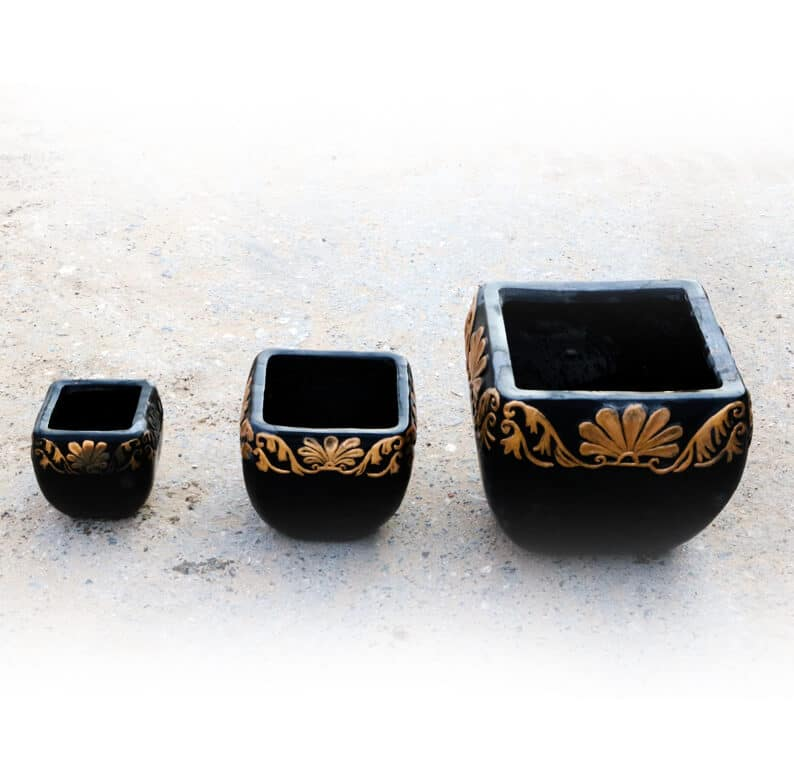 Set of small, medium and large gold and black square pots