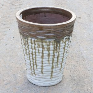 Large tall white and gold patterned pot