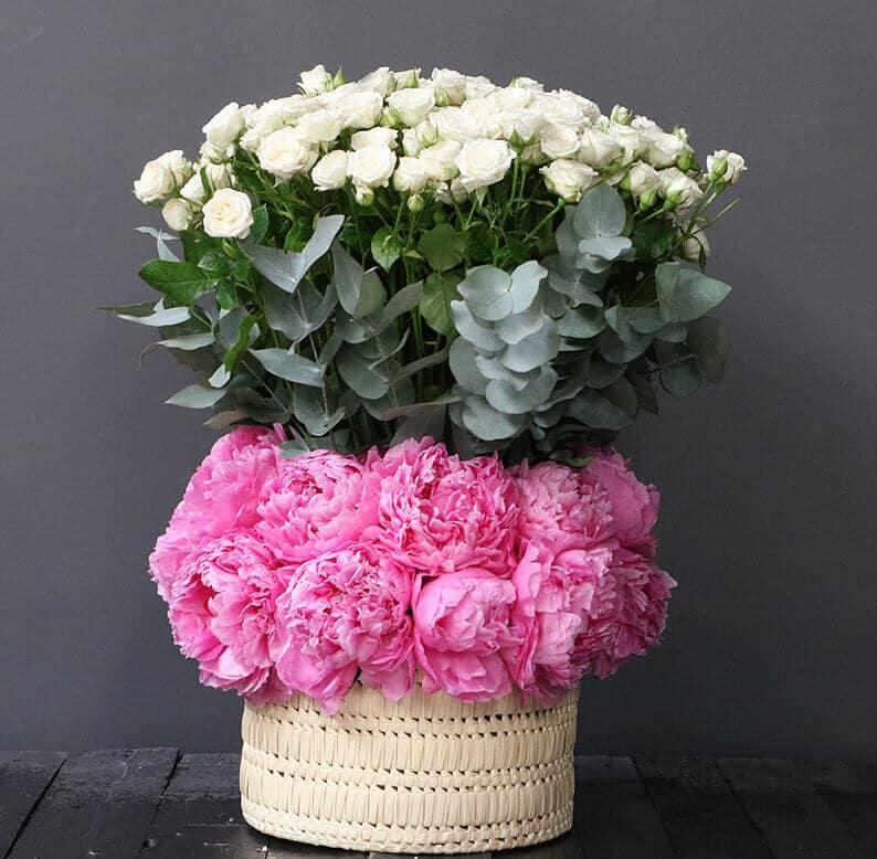 pink peonies, white spray roses and eucalyptus