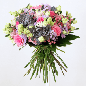 pink roses, eustoma, succulents
