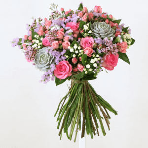pink and white bouquet with succulents