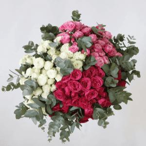 white, pink and dark pink spray rose bouquet