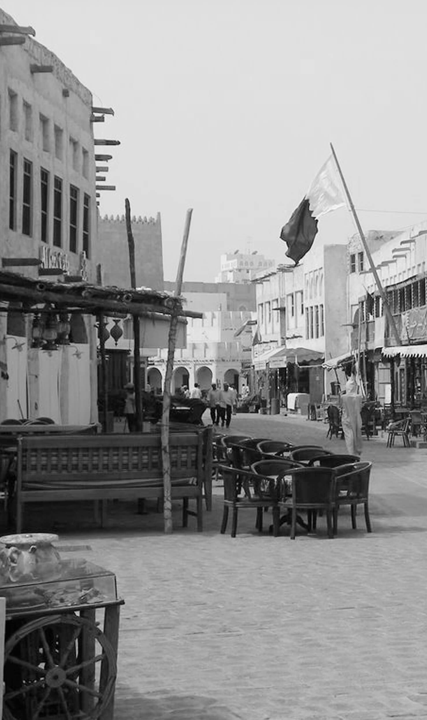 souq waqif black and white picture