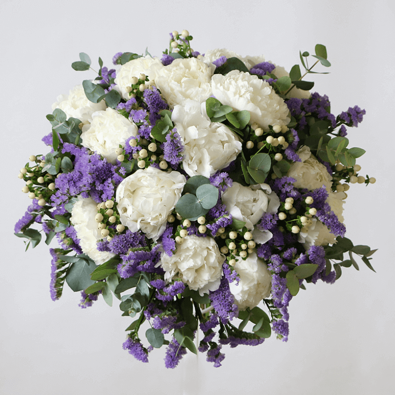 white peony bouquet with purple statice