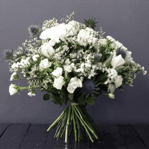 white spray rose, limonium, eryngium and eucalyptus bouquet