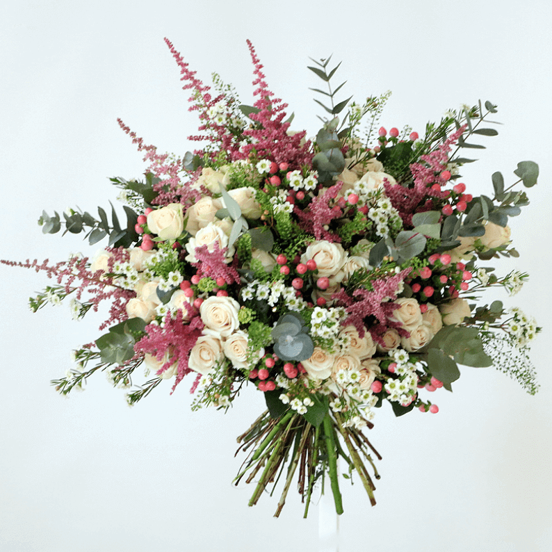 pink astilbe, white spray roses and eustoma bouquet