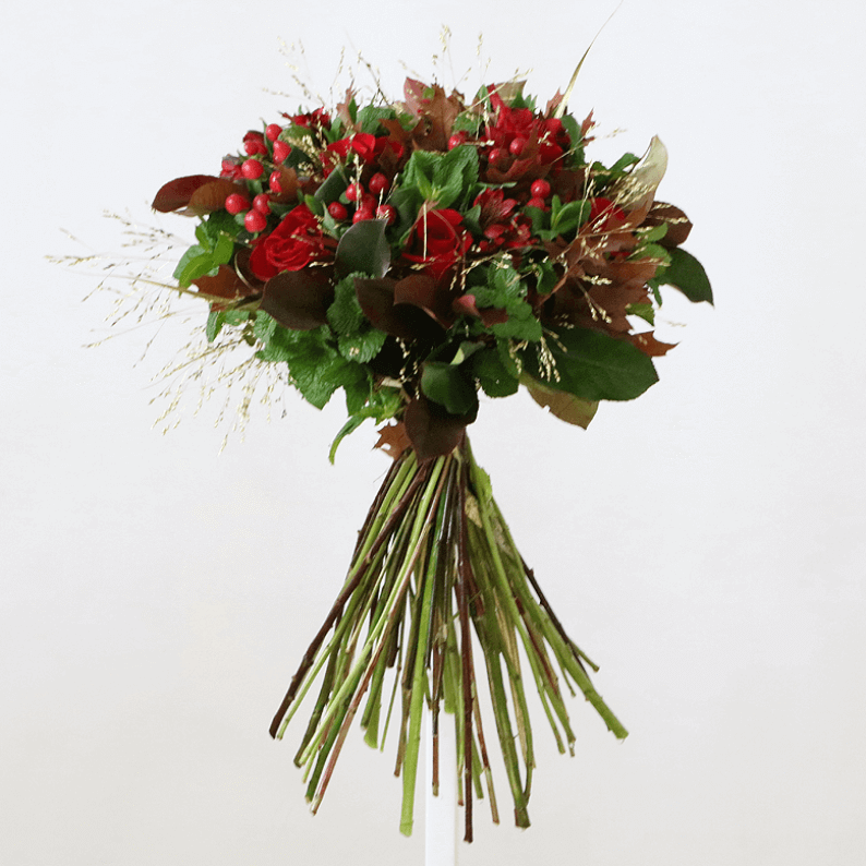 red rose, mint, berries and grass bouquet
