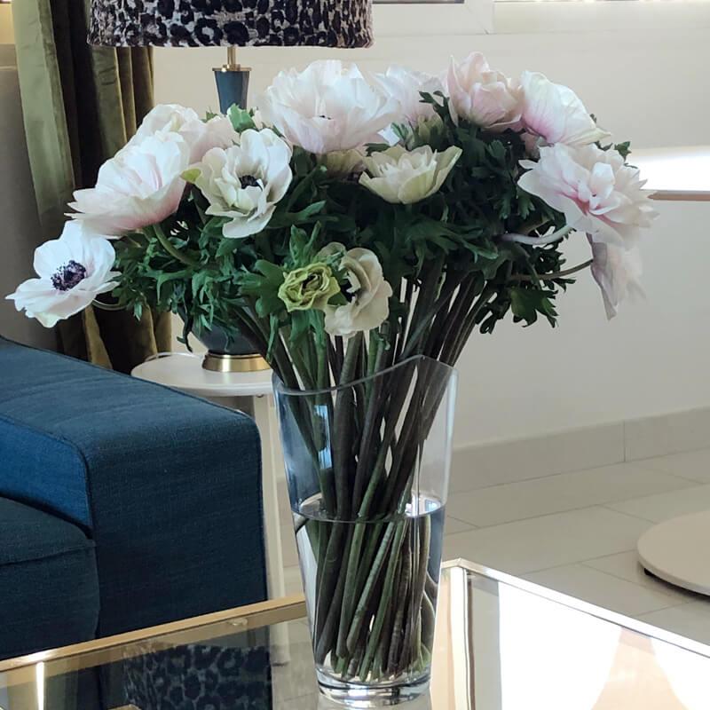 white anemone in a vase