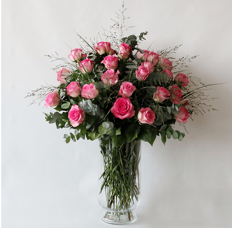 pink roses and eucalyptus with grass