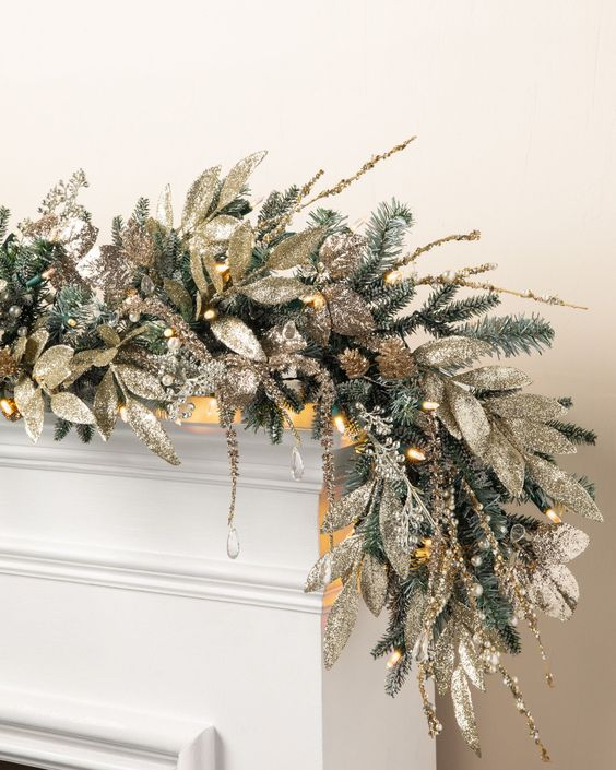 Christmas garland with gold and silver foliage