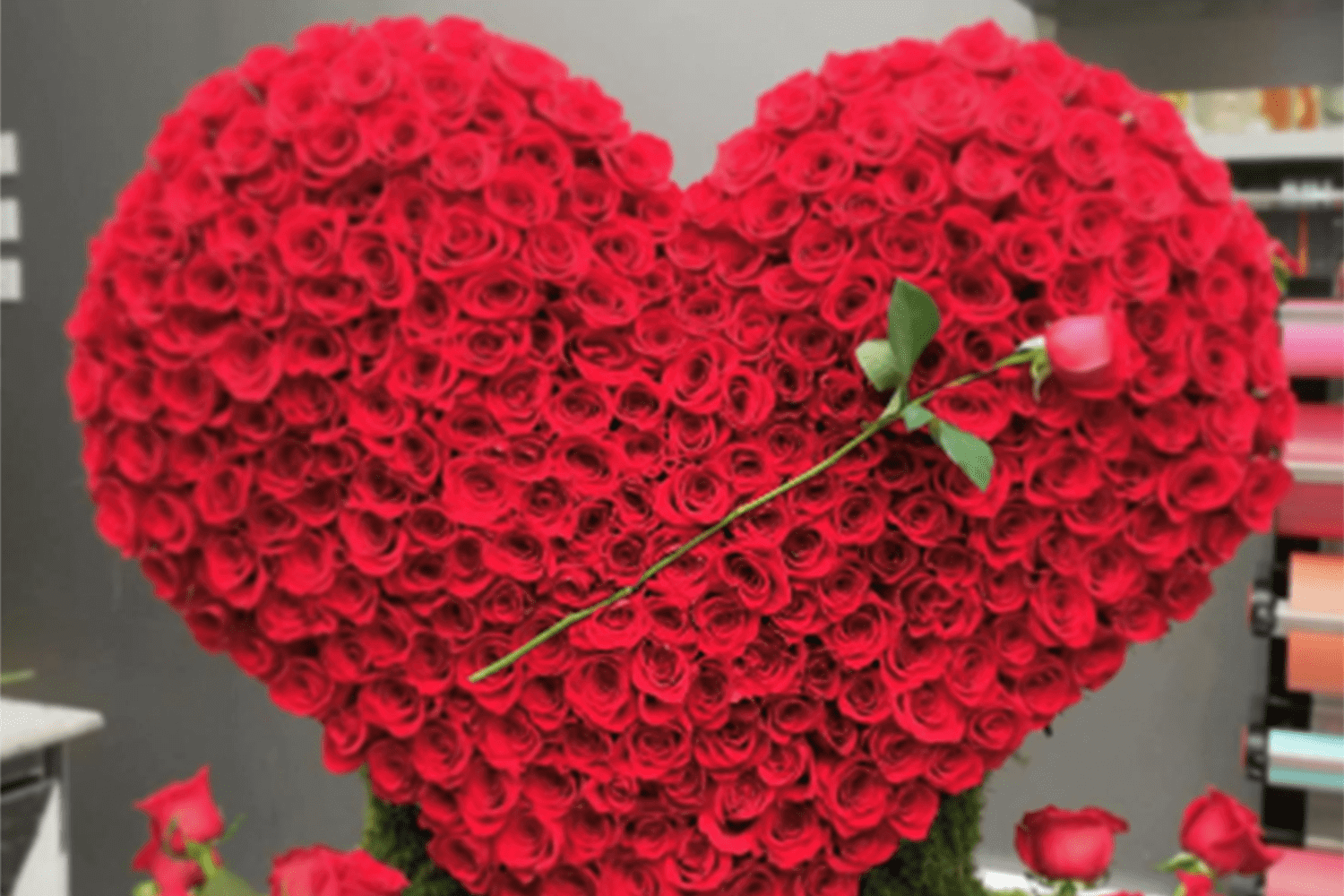 Heart shaped red rose flower arrangement for valentines day