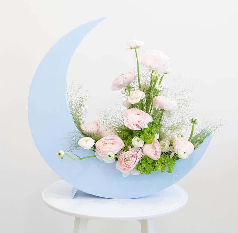 Crescent moon with ranunculus