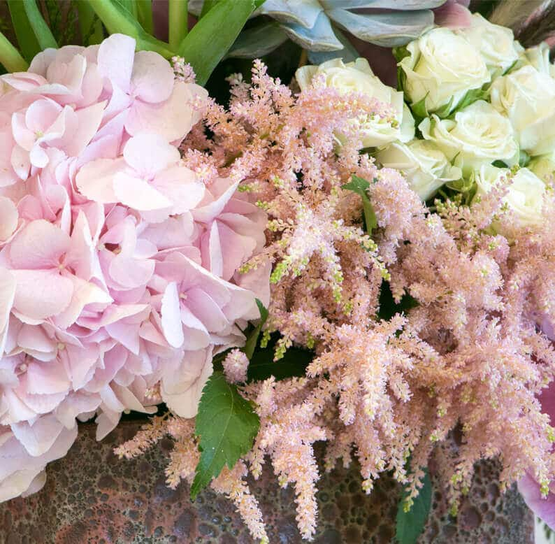 Close up of pink and flower arrangement