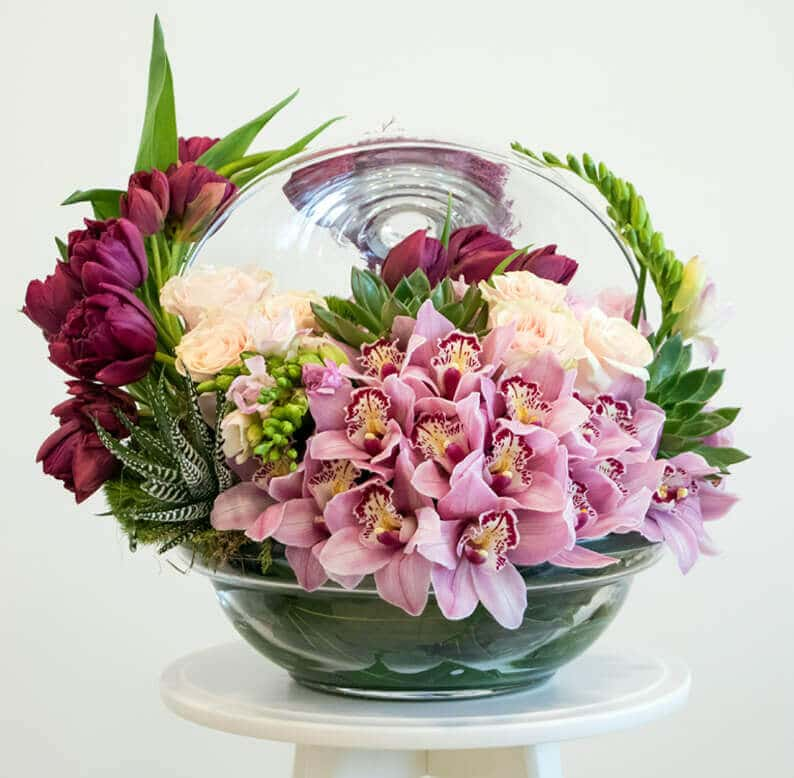 Pink and green flower arrangement