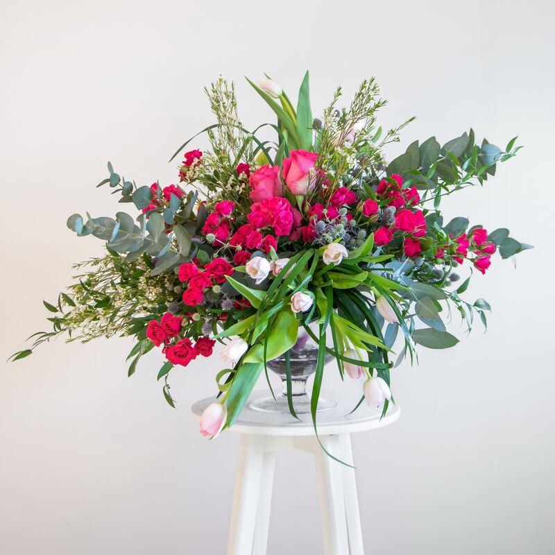 Pink loose flower arrangement