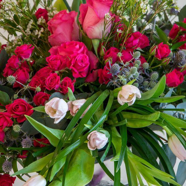 Close up of pink loose flower arrangement