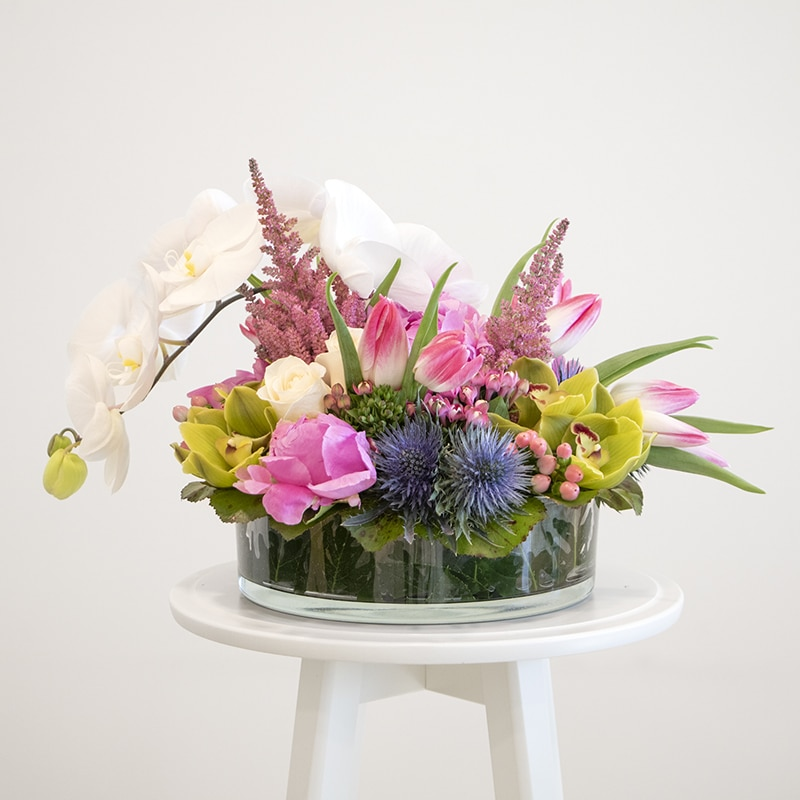 Green and pink and green flower arrangement